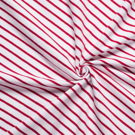 CLASSIC Stripes - white / ruby red jersey 200g >185cm!<