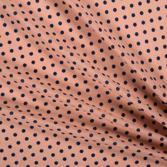 Viscose fabric Navy blue polka dots on peach 81816-03