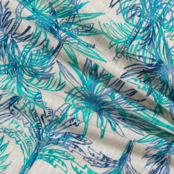 Fabric Viscose turquoise palm leaves on beige