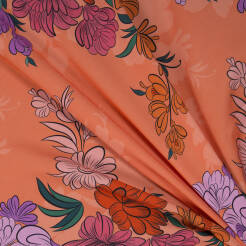 Viscose fabric large flowers on CORAL