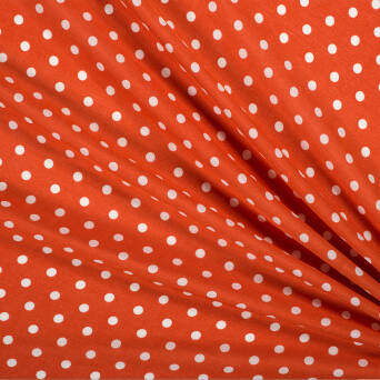 Viscose fabric white polka dots on ginger