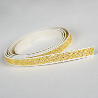 Rubber WHITE with metal thread GOLD 10 mm