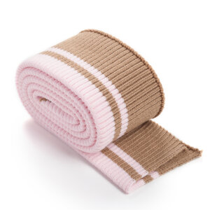 Folded ribbing RETRO stripes CARMEL/QUARTZ PINK