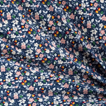 Viscose fabric FLOWER BUDS ON NAVY BLUE # 9538-01