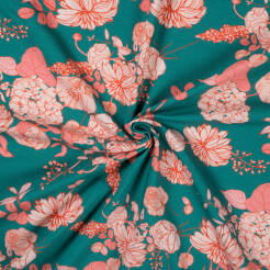 VINTAGE FLOWERS on MARINE jersey 200g