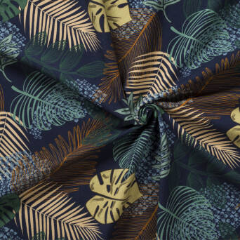 Jungle leaves - Navy Blue jersey
